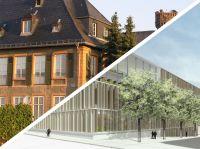 EBS - Universität für Wirtschaft und Recht: Stammhaus in Schloss Reichartshausen im Rheingau (li.) und der geplante Universitätsneubau in Wiesbaden.
