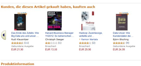 Kunden, die dieses Buch gekauf haben … Die Warenkorb-Analyse kennt jeder Amazon-Kunde. Quelle: Amazon.