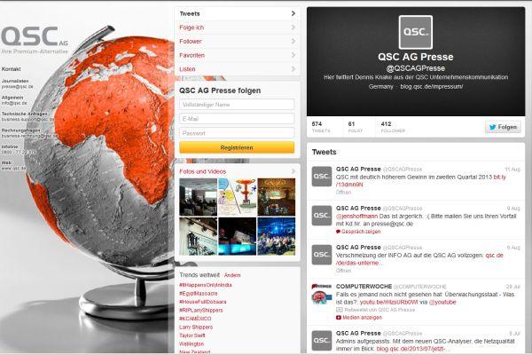 Twitter-Kanal der QSC-Pressestelle.