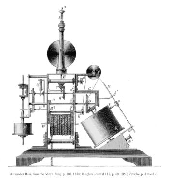 Erstes Faxgerät: Der Kopiertelegraf des schottischen Uhrmachers Alexander Bain. Abbildung: um 1850/European Patent Office.