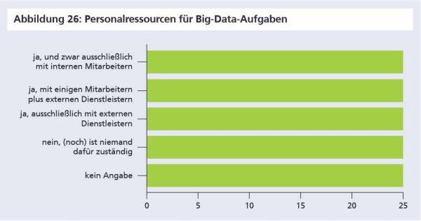 Der Umgang mit Big Data ist laut der Fraunhofer Gesellschaft zumeist personell noch nicht organisiert. Falls dieser doch bereits organisiert ist, dann mit eigenen Mitarbeitern sowie mit externen Dienstleistern. Quelle: Fraunhofer Institut.