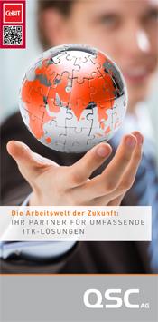 CeBIT-Flyer 2014 der QSC AG.