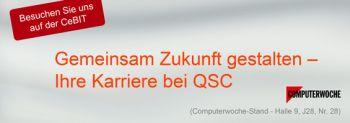 Header für CeBIT 2014 Karriere bei QSC