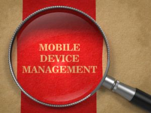 Mobile Device Management. Magnifying Glass.