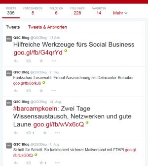 Kurz und bündig: Microblogging-Dienste wie Twitter bieten schnelle Information, hier der Twitter-Kanal des QSC-Blogs.