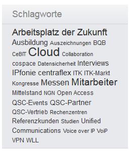 Deutliche Themenschwerpunkte: Tag-Cloud des QSC-Blogs.