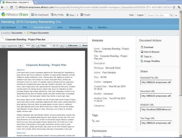 Sämtliche Aktivitäten rund um ein Dokument werden in Alfresco mitprotokolliert, User können diesen Activity Stream verfolgen.