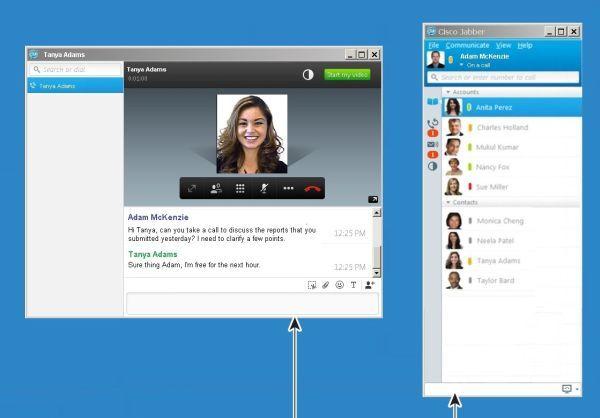 Jabber vereint Text-Chat, Sprach- und Videotelefonie, Desktop-Sharing sowie Online-Konferenz. Unter Windows überträgt Ciscos Jabber-Client auch hochauflösende Videobilder per H.264. Zum Vergrößern bitte Screenshot anklicken.