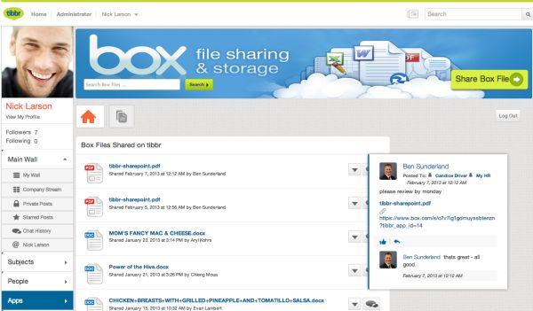 tibbr vernetzt Mitarbeiter, Anwendungen und Daten. Wie bei anderen sozialen Netzen lassen sich Profile anlegen, der User kann bestimmten Themen folgen oder sie kommentieren. Zum Vergrößern bitte Screenshot anklicken.
