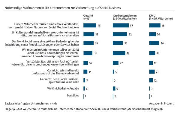 """Die wichtigsten Maßnahmen für eine erfolgreiche Social-Business-Einführung laut einer BITKOM-Studie """"Einsatz und Potenziale von Social Business für ITK-Unternehmen""""."""