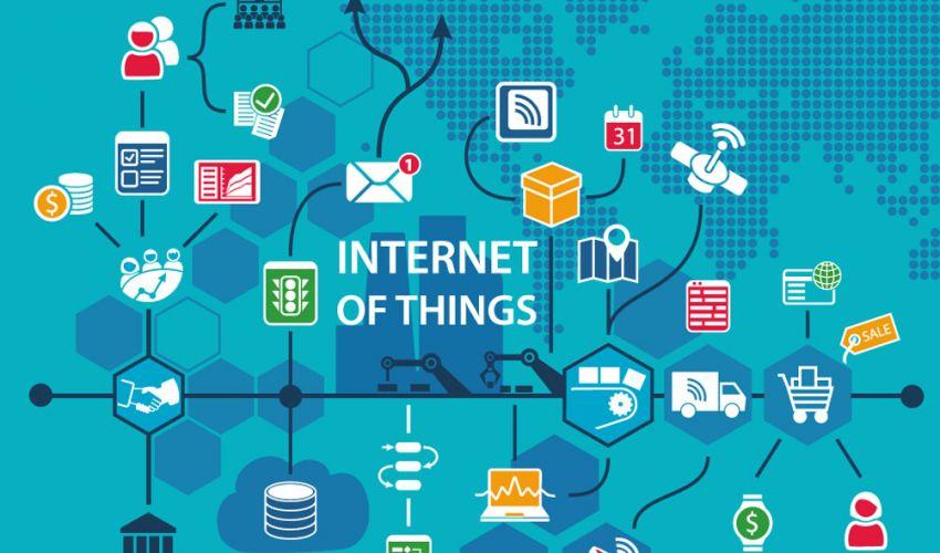 Grafik Internet of Things mit Symbolen