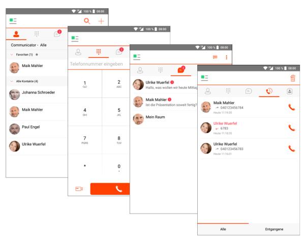 Communicator App der cloudbasierten Telefonanlage von QSC. Abbildung: QSC AG.