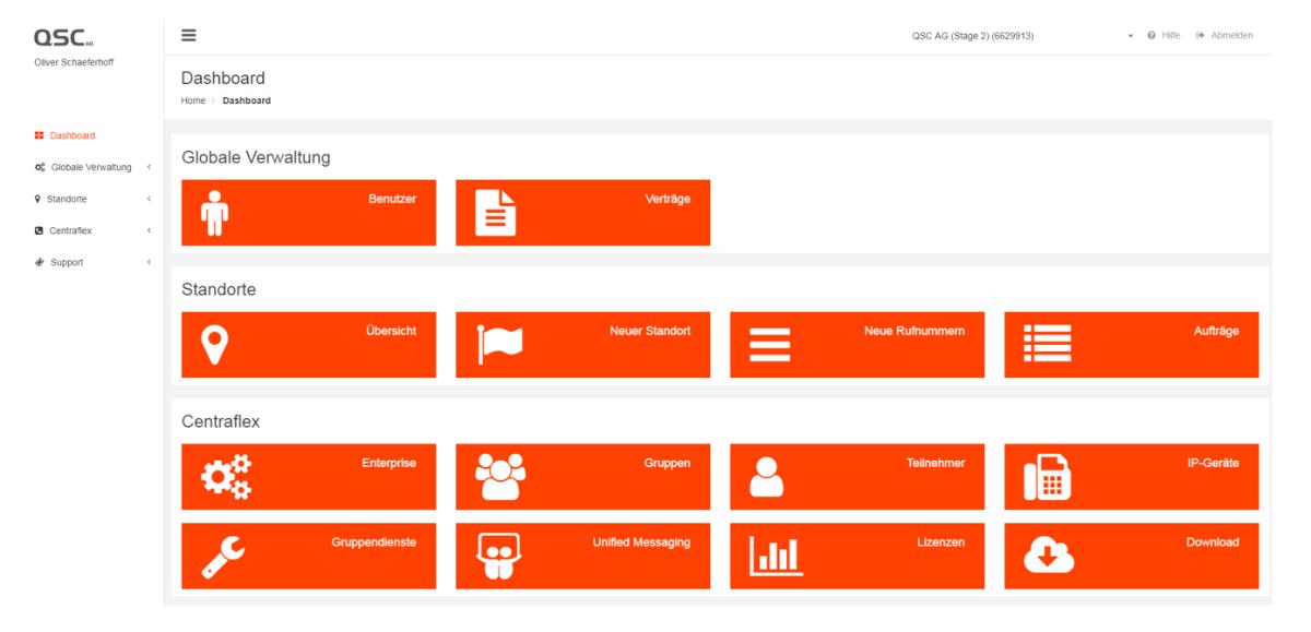 Web-Portal des Geschäftsbereichs Telekommunikation der QSC AG.