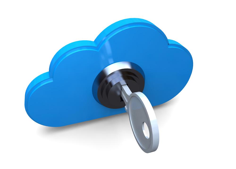 3D-Cloud-Symbol mit Schlüssel