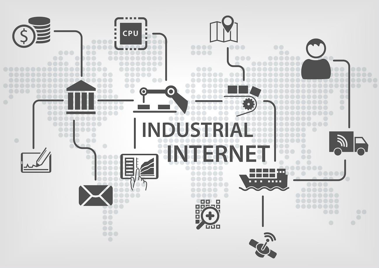Weltkarte mit Symbolen des Industrial Internet