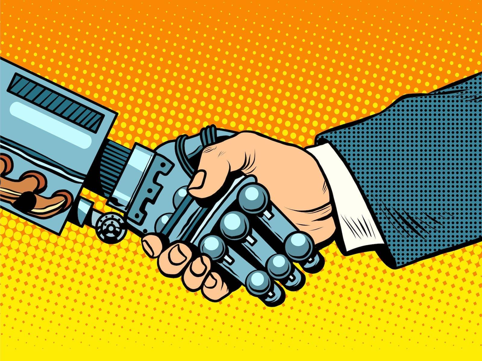 Ein Mensch und ein Roboter reichen sich die Hand.