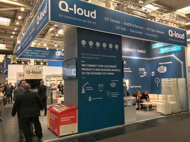 Stand der QSC-Tochterfirma Q-loud GmbH auf der HANNOVER MESSE 2019. Foto: © Q-loud GmbH.