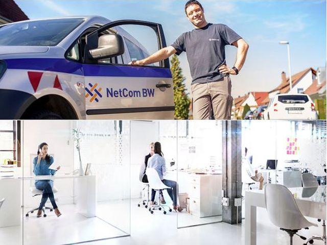 Kollage der Key Visuals der NetCom BW GmbH und der Plusnet GmbH, die künftig Schwesterfirmen sind.