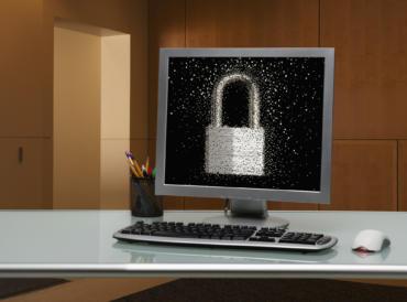 Bildschirm mit Sicherheitsschloss