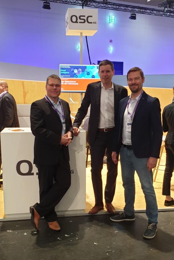 Marc Neumann, Meik Brand und Alexander Döhling beim Microsoft Business Summit 2019 in Frankfurt. Bild: © QSC AG.