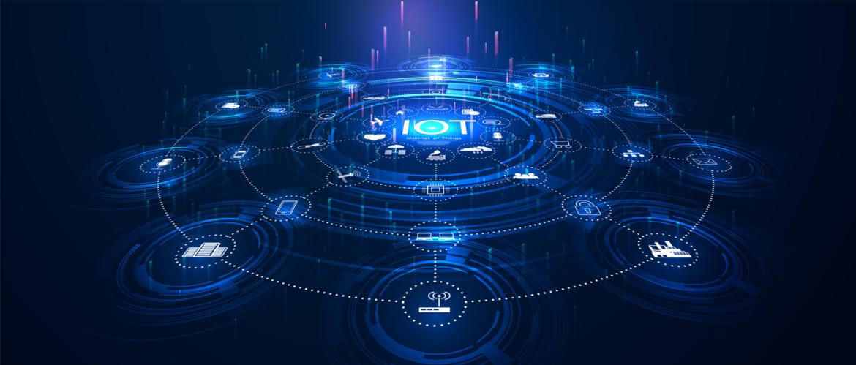 Blauer Hintergrund mit Netzwerk aus IoT-Verbindungen