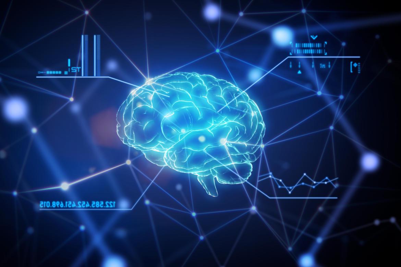 Künstliche Intelligenz als Gehirn, das über Linien mit Technologien verbunden ist