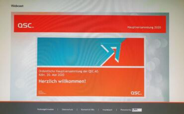 Screenshot mit dem Startbild der QSC-Hauptversammlung am 20. Mai 2020
