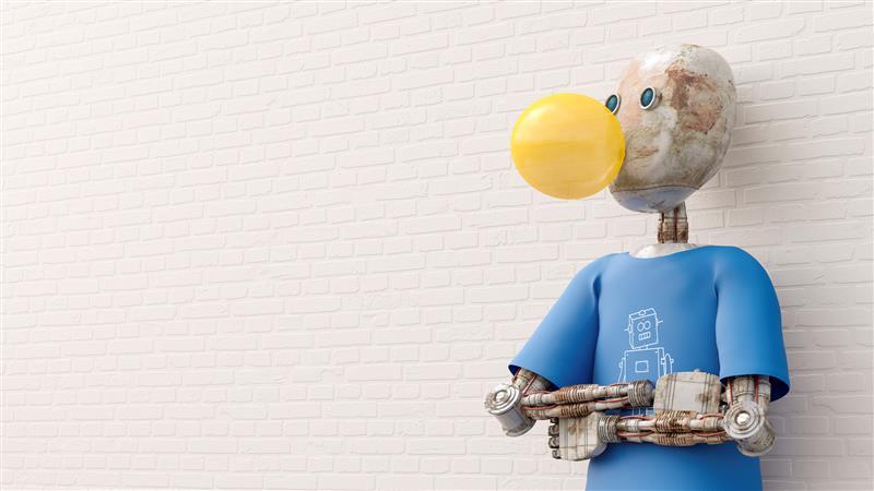 Roboter macht Kaugummiblase