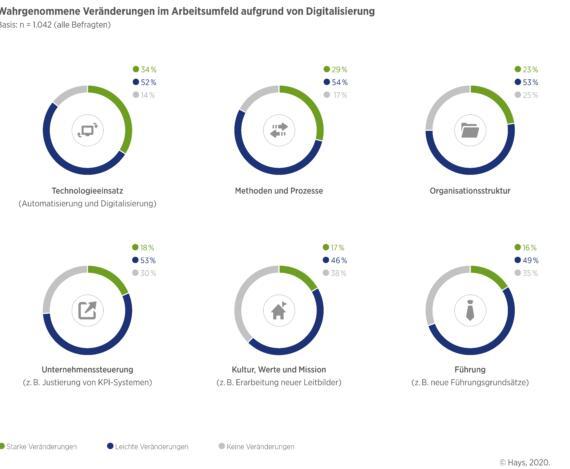 Wahrgenommene Veränderungen im Arbeitsumfeld aufgrund von Digitalisierung